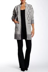 Twelfth St. By Cynthia Vincent Long Wool Blend Jacket Sweater Gray