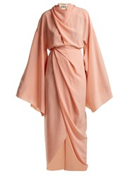 Awake High Neck Draped Woven Dress Light Pink