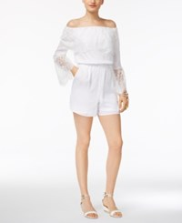 Thalia Sodi Off The Shoulder Lace Trim Romper Only At Macy's Bright White