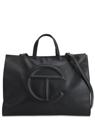 Telfar Large Embossed Faux Leather Tote Bag Black