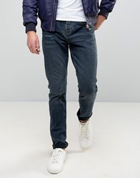 Pull And Bear Slim Jeans In Washed Indigo Green
