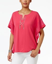 Jm Collection Chain Lace Up Poncho Only At Macy's Steel Rose
