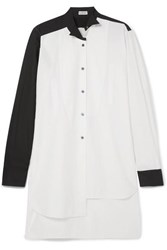 Loewe Asymmetric Two Tone Cotton Poplin Shirt White