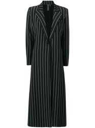 Norma Kamali Striped Single Breasted Coat Black