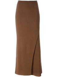 Helmut Lang Knitted Maxi Skirt Brown