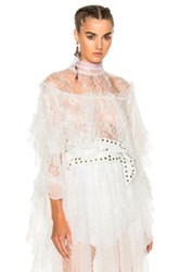 Rodarte Lace Tiered Ruffle Blouse In White