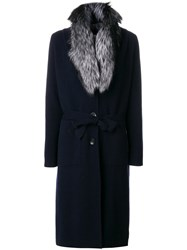 N.Peal Fur Collar Knitted Coat Blue