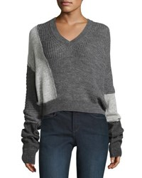 Mcq By Alexander Mcqueen Patched V Neck Long Sleeve Cable Knit Sweater Gray