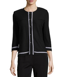 Misook Stripe Trim 3 4 Sleeve Cardigan Black White