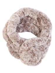 Chesca Faux Fur Collar With Pom Pom Fastening Beige
