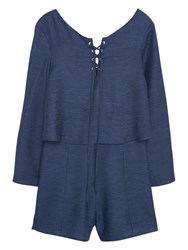 Mango Flared Sleeves Jumpsuit Navy
