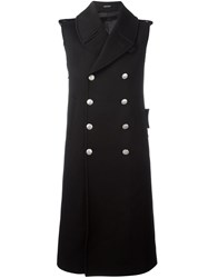 Alexander Mcqueen Double Breasted Sleeveless Coat Black