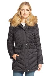 Women's Laundry By Shelli Segal Belted Down And Feather Fill Utility Parka With Faux Fur Trim