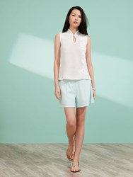Shanghai Tang Cotton Mesh Hand Embroidered Sleeveless Top White