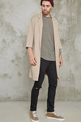 Forever 21 Longline Open Front Cardigan Taupe