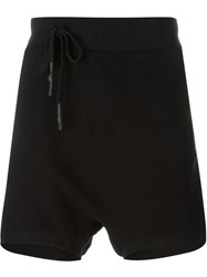 11 By Boris Bidjan Saberi Drop Crotch Asymmetric Track Shorts Black