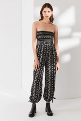 Urban Outfitters Uo Strapless Smocked Jumpsuit Black White