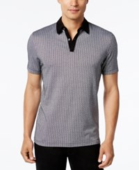 Alfani Men's Geometric Jacquard Polo Only At Macy's Deep Black Combo