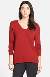 Women's Hinge Split Back Boyfriend Sweater Red Dahlia