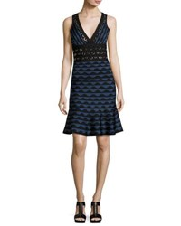 Herve Leger Scalloped Jacquard Ring Trim Sleeveless Dress China Blue Combo