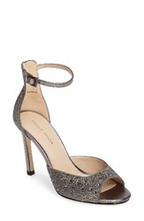 Pelle Moda Women's Crystal Embellished Ankle Strap Sandal Pewter Leather