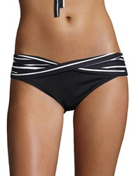 Coco Reef Serenity Striped Criss Cross Hipster Bikini Bottoms Black