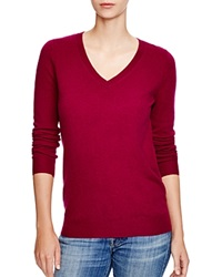 C By Bloomingdale's V Neck Cashmere Sweater Boysenberry