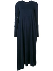 Barrie Long Sleeve Knitted Dress Blue