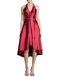 Monique Lhuillier Sleeveless V Neck High Low Cocktail Dress
