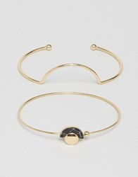 Ny Lon Nylon Two Bangle Set Gold