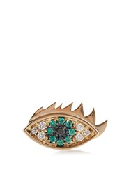 Delfina Delettrez Emerald Diamond And Yellow Gold Eye Earring