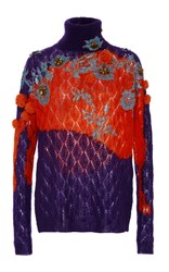 Delpozo Embellished Turtleneck Sweater Purple
