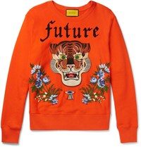 Gucci Embroidered And Appliqued Loopback Cotton Jersey Sweatshirt Orange