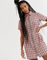 The Ragged Priest Mini Dress With Zip Front In Check Pink