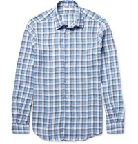 Boglioli Checked Linen Shirt Blue
