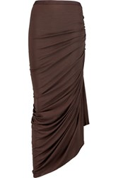 Rick Owens Lilies Asymmetric Ruched Jersey Maxi Skirt Brown