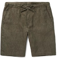 Loro Piana Slim Fit Linen Drawstring Shorts Green