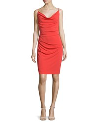 Nicole Miller Sleeveless Cowl Neck Sheath Dress Coral