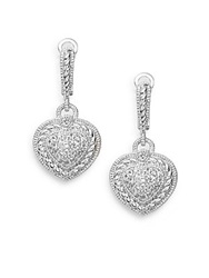 Judith Ripka Romance White Sapphire And Sterling Silver Pave Heart Earrings