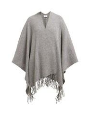 Allude Tasselled Wool And Cashmere Blend Wrap Grey