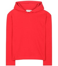 Balenciaga Cropped Cotton Hoodie Red