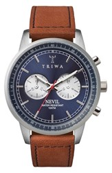Triwa Blue Steel Nevil Chronograph Leather Strap Watch 42Mm