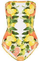 Stella Mccartney Mesh Trimmed Printed Bandeau Swimsuit Yellow