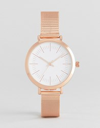 Asos Sleek Rose Gold Mesh Watch Rose Gold Copper
