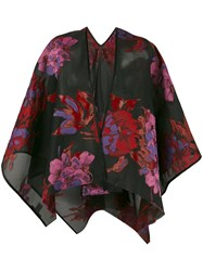 Ermanno Gallamini Floral Oversized Coat Women Silk Polyamide Polyester One Size Black
