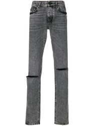 Saint Laurent Low Rise Busted Knee Jeans Grey