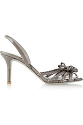 Valentino Braided Patent Leather Pumps Gray