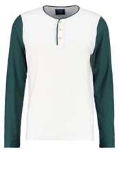 Abercrombie And Fitch Baseball Long Sleeved Top Cream Green Off White