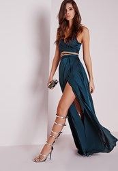 Missguided Satin Wrap Maxi Skirt Teal Blue