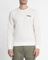 G Star Grey And White Striped Round Neck Prebase Sweatshirt